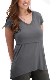 High-low v-neck nursing tee