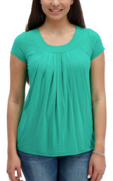 Pleated flowy nursing top