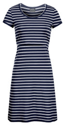 Striped scoop-neck nursing dress in dark navy