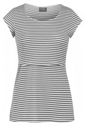 Sleek gray striped scoop neck nursing top