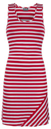 Striped nursing tank dress in red