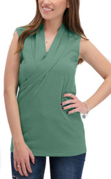 Sleeveless crossover nursing top