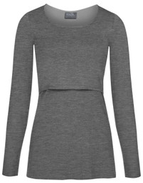 Sleek scoop neck nursing top in long sleeves