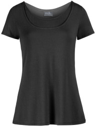 Pull-down trapeze nursing top in short sleeves