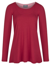 Pull-down trapeze nursing top in long sleeve