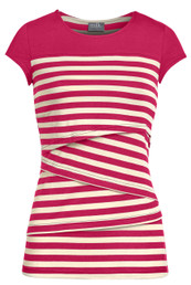 Striped solid yoke nursing top in coral