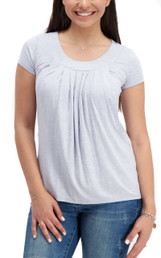 Pleated flowy heathered nursing top