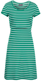 Striped scoop-neck nursing dress in green