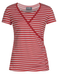 Crossover striped nursing top in coral