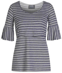 Striped Bell Sleeve nursing top front view