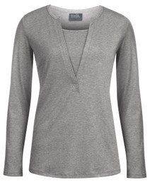 Heathered henley nursing top