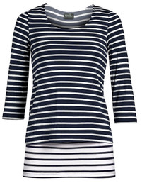 Contrast striped nursing top in navy