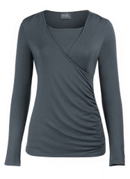 Side-shirred nursing top in long sleeves SALE COLOR