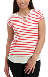 Striped keyhole nursing top