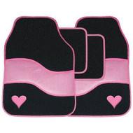 Pink & Black Velour Love Heart Carpet Car Floor Mats