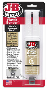 JB Weld Plastic Bonder High Strength Panel Adhesive Syringe Tan - 25 ml