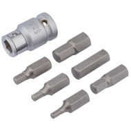 "1/2"" Square Drive Metric Hexagon Bit Set - 7 Piece"