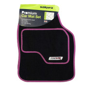 4 Piece Universal VR Type Car Carpet Mat Set - Bright Pink