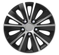 Rapide Black & Silver Car Wheel Trims - 4 x 15 Inches