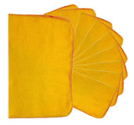 Pack of 10 Large Cotton Yellow Cleaning Dusters - 33 x 50 cm