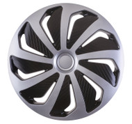 WIND Black & Silver Car Wheel Trims - 4 x 16 Inches