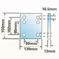 """4"""" Tow Ball Drop Plate with 6 Holes, Zinc Plated"""