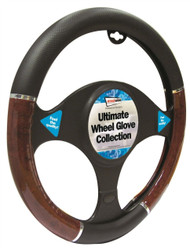 Wood Effect Steering Wheel Cover - 37 > 38 cm Dia