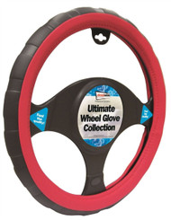 Steering Wheel Cover Red & Black - 37 > 38 cm Dia