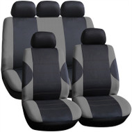 A Full Set of Seat Cover Including Head Rest Covers - Dark & Light Grey