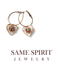 EARRINGS - TINY WHITE HEARTS (on hoops) with hippie flowers