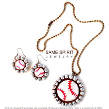 - - NECKLACE ONLY - - Baseball on Silver Rolo Chain