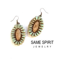 EARRINGS -  RIVERWALK medallions in turquoise and camel