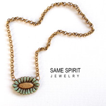 NECKLACE -  RIVERWALK  (turquoise and camel)