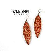 EARRINGS - MEDIUM LEAF (red cheetah with gold edges)