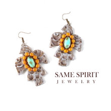EARRINGS - PHOENIX (tarnished with turquoise medallion surrounded by marigold)