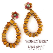 POST BACK EARRINGS - HONEY BEE (Large 2-part weathered yellow)