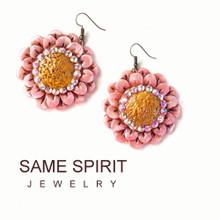 EARRINGS - RING OF FIRE DAISY (pink pearl)
