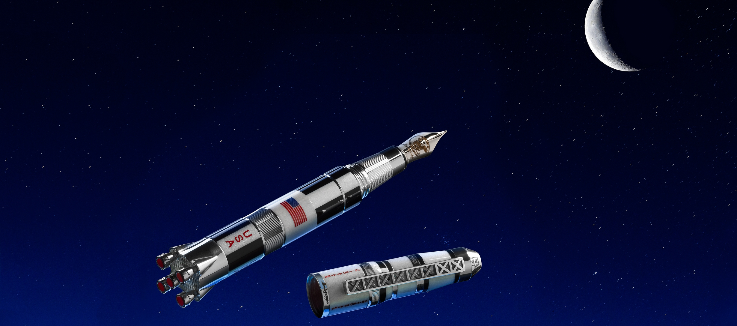 Montegrappa Moon Landing Limited Edition Resin and  Sterling Silver Fountain Pen