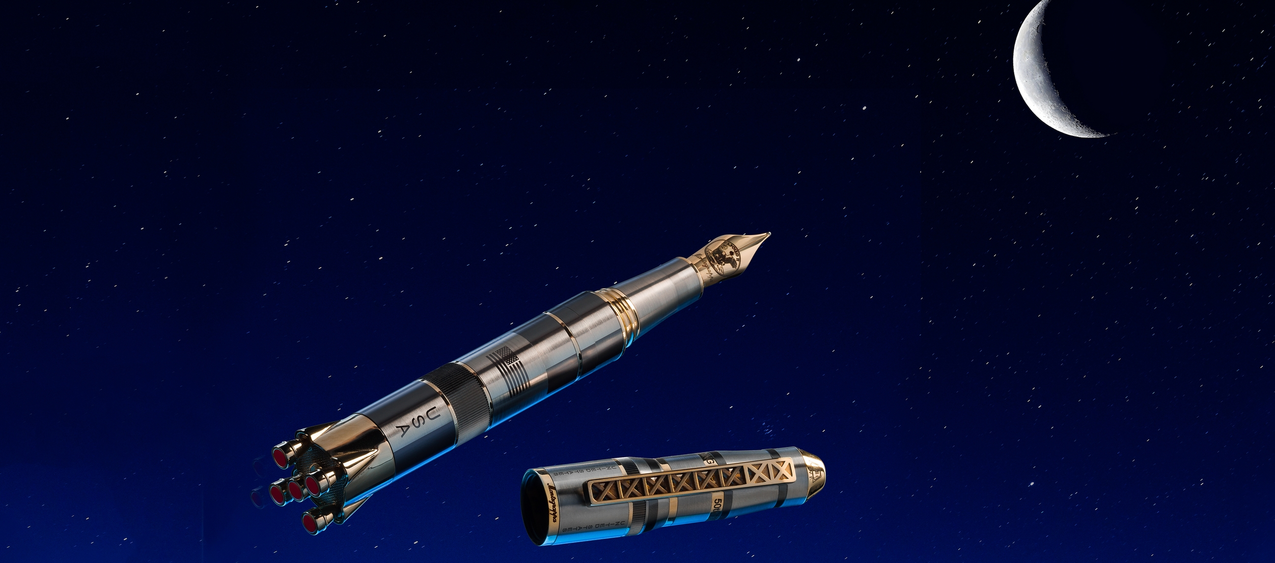 Montegrappa Moon Landing Limited Edition Titanium and 18k Gold Fountain Pen
