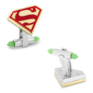 Luxe Superman Shield Cufflinks with Green Onyx