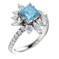 Platinum Aquamarine and 1.16 CTW Diamond Ring