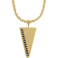 14k Yellow Gold Black Diamond Men's Triangle 24 Inch Necklace