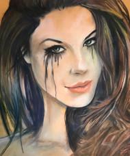 Crying Girl Smirk Giclee by Daniel Leeland Woodward