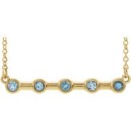 14k Yellow Gold Bezel Set Aquamarine Bar Necklace