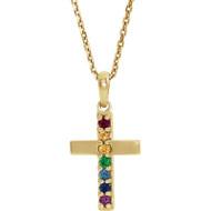 14K Yellow Gold Multi-Gemstone Cross Necklace