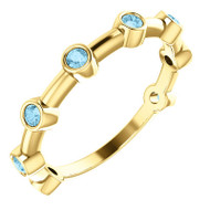 14k Yellow Gold Aquamarine Bezel Set Bar Ring
