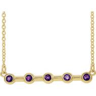 14k Yellow Gold Bezel Set Amethyst Bar Necklace