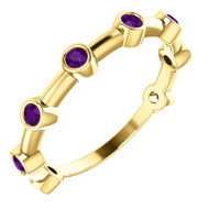 14K Yellow Gold Bezel Set Amethyst Bar Ring