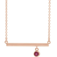 Ruby Bezel Set Bar Necklace