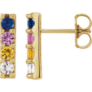 Mult-Colour Sapphire Earrings in 14k Gold